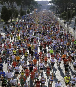 Thousands of competitors compete during Rome's marathon in front of the Colosseum