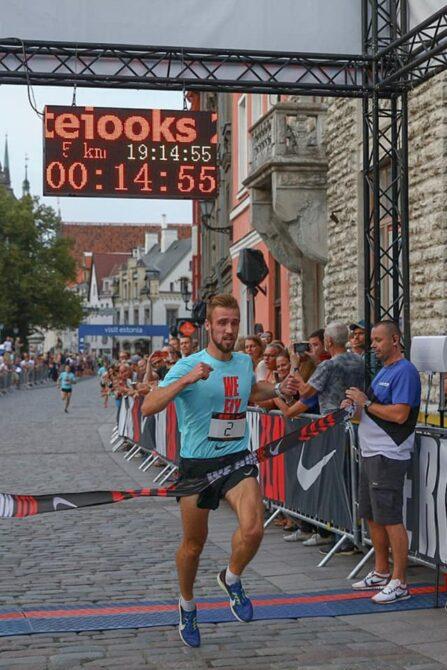 Olavi Allase Noortejooksu võitjana finišis. Foto: erakogu