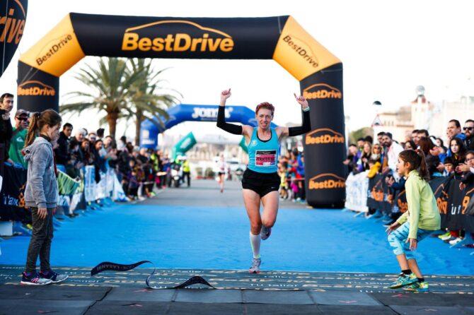 Jekaterina Patjuk võitjana jooksu finišis. Foto: erakogu