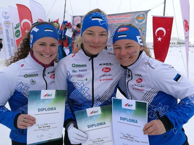 Eesti naiskond suusaorienteerumise EMil. Foto: Eesti Orienteerumisliit