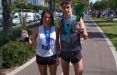 Olga Andrejeva ja Raivo Alla pärast jooksu auhinnakarikatega. Foto: erakogu