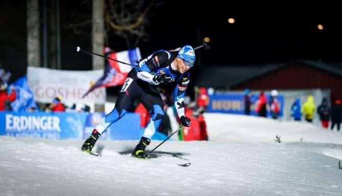 Kalev Ermits. Laskesuusatamise MK etapp Östersundis Rootsis. Meeste 4x7,5. 07.12.2019. Foto Jarek Jõepera