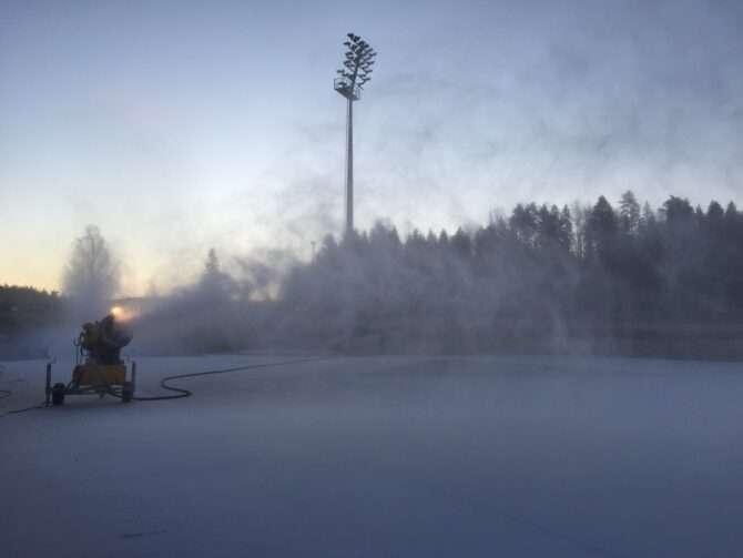 Töötav lumekahur täna hommikul Tehvandil. Foto: Eesti Laskesuusatamise Föderatsioon